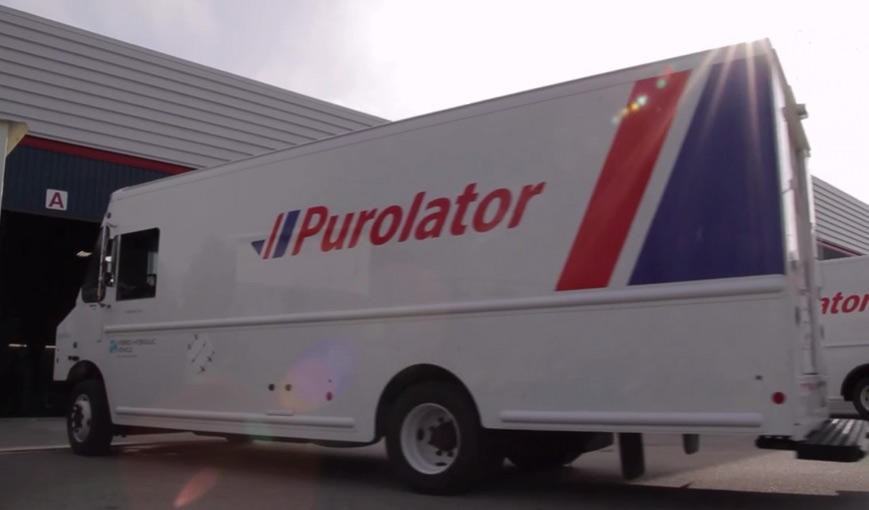 Purolator electric delivery truck with TM4 SUMO drivertrain